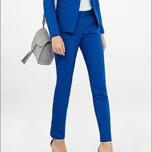 Express Editor Ankle Crop Pant Cobalt Blue